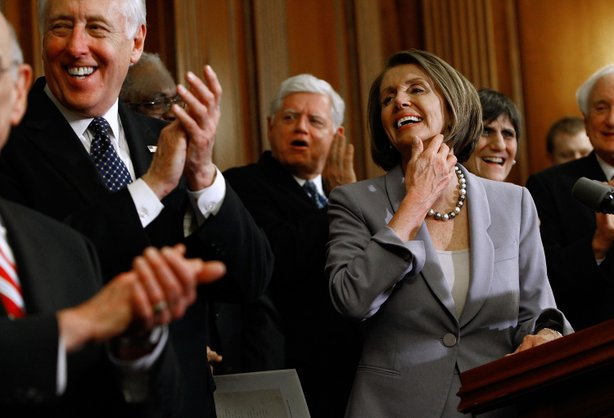 House Majority Leader Steny Hoyer (D-MD), Rep. John Larson (D-CT), Speaker of the House Nancy Pelosi (D-CA) and Rep. Rosa DeLauro (D-CT) hold a news conference after the House passed health care reform legislation at the U.S. Capitol March 22, 2010 in Washington, DC.