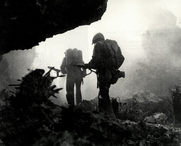 Photo taken during the invasion of Okinawa. In June 1945, after 82 days of intense fighting, US Army and Marines secured Okinawa. The cost was enormous: 12,000 Americans and 70,000 Japanese and Okinawan conscripts lost their lives in a battle that would be remembered as one of the most terrible in the history of warfare.