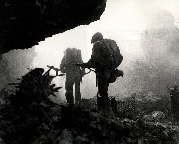 Photo taken during the invasion of Okinawa. In June 1945, after 82 days of in...