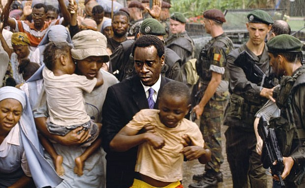 Paul Rusesabagina (Don Cheadle) saves more than 1,200 Tutsi refugees from gen...