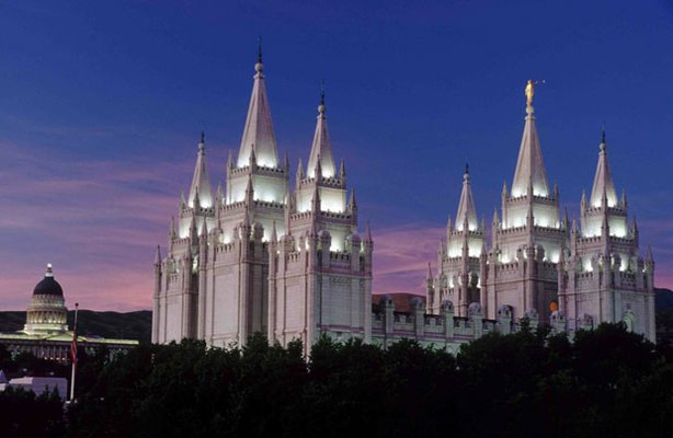 Completed in 1893, the Salt Lake Temple is the largest temple (in squre footage) of the Church of Jesus Christ of Latter-day Saints. It is the centerpiece of Temple Square in Salt Lake City, Utah.
