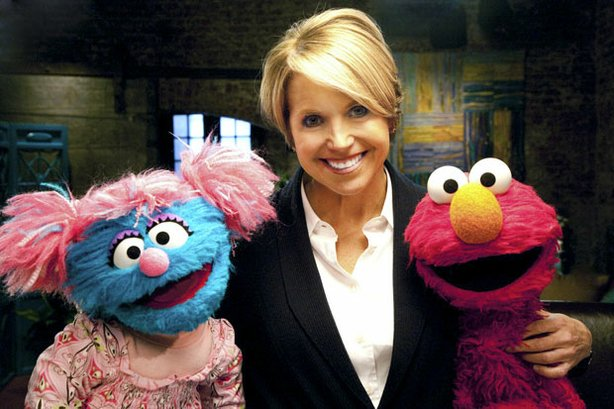 Katie Couric (center), Jessie (left) and Elmo (right) help families cope with the death of a parent.