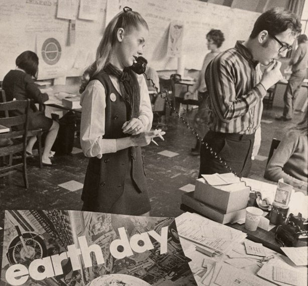 Workers prepare for the first Earth Day at the headquarters of the Environmental Action Coalition in a New York Theological Seminary building (1970).