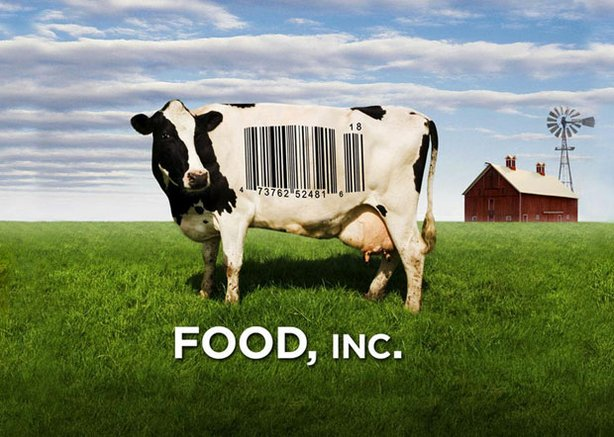 "Promotional graphic of a cow with a bar code on its side, for the film ""Food ..."