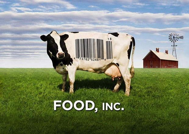 Promotional graphic of a cow with a bar code on its side, for the film