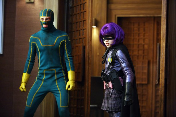 "Aaron Johnson and Chloe Moretz star as superheroes of sorts in ""Kick-Ass."""