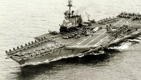 Once the USS Midway completed its humanitarian rescue in Operation Frequent Wind, it picked up a number of aircraft and helicopters that had flown out of South Vietnam just before it fell to the communists.  Most of these aircraft were headed for an American base in Guam.