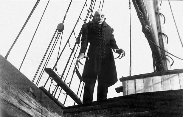 "The genuinely creepy Max Schreck stars in teh silent horror classic ""Nosferatu"""