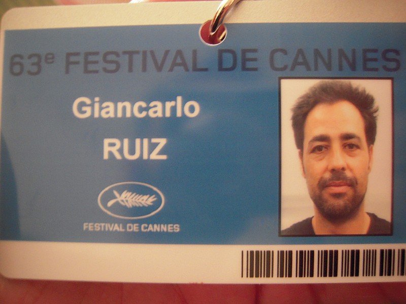 Filmmaker Giancarlo Ruiz gets his I.D. badge for the Cannes Film Festival.