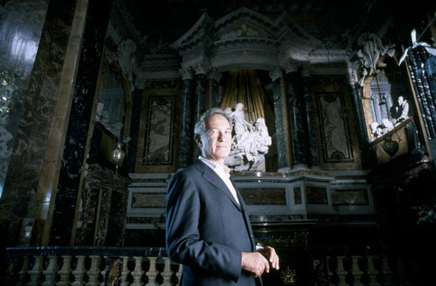 "Internationally acclaimed scholar and writer Simon Schama with Bernini's ""Ecstasy of St. Theresa"" in Rome's Cornaro Chapel, Santa Maria della Vittoria."