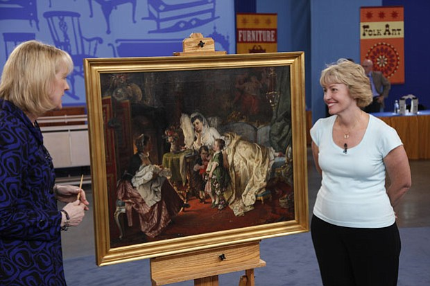 At ANTIQUES ROADSHOW in San Jose, California, a guest brings in a painting en...