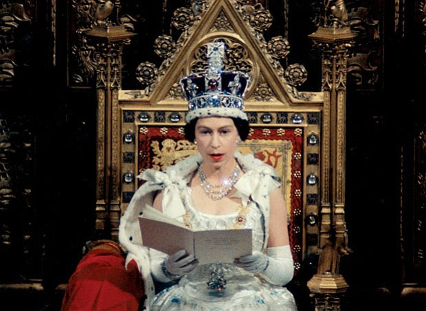 Promotional image of the Queen during coronation rites from
