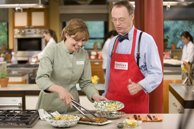 Christopher Kimball with cook Rebecca Hays in the test kitchen
