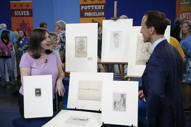 "At ""Antiques Roadshow"" in Orlando, Florida, appraiser Todd Weyman of Swann Galleries inspects a collection of rare etchings and dry points by James McNeill Whistler, including the scarce ""The Palaces in Brussels."" These delicate prints, many signed by the artist, could draw $130,000 to $190,000 at auction."