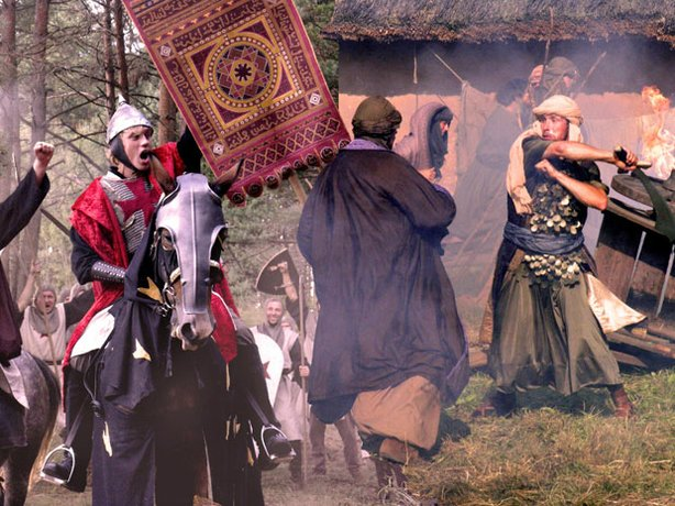 A battle re-enactment scene from the film.  In 1492, greed, fear and intolerance destroyed the peaceful co-existence of Muslims, Christians and Jews in Islamic Spain. Puritanical judgments and religious absolutism snuffed out the lights of learning, thus beginning years of war and destruction.