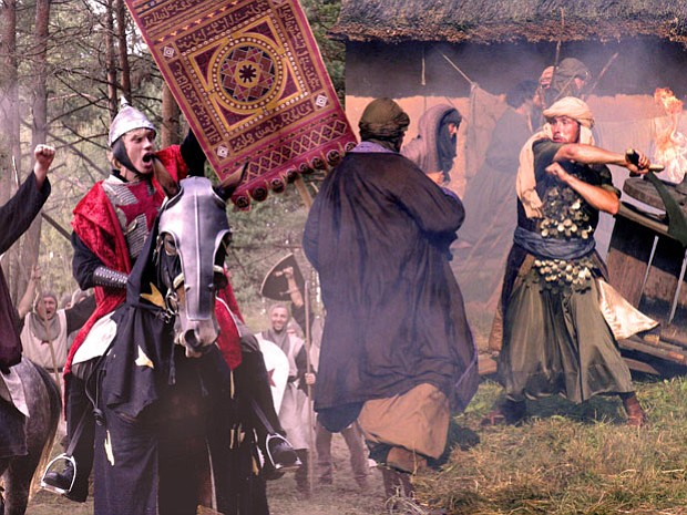 A battle re-enactment scene from the film.  In 1492, greed, fear and intolera...