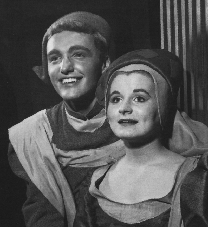 Dennis Hopper as Lorenzo and Roxanne Haug as Jessica in The Old Globe's 1954 ...