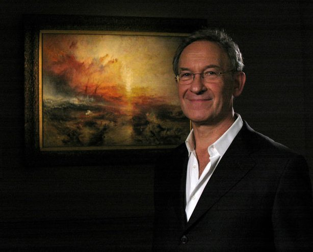 "Internationally acclaimed scholar and writer Simon Schama with J.M.W. Turner's ""Slave Ship (Slavers Throwing Overboard the Dead and Dying, Typhoon Coming On),"" 1840 (Oil on canvas)."