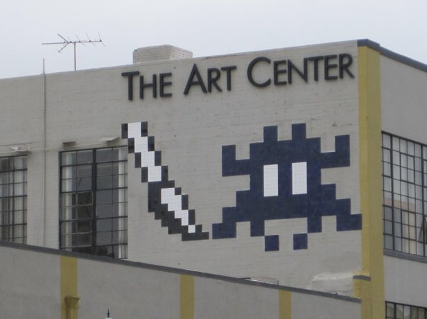 A Space Invader character on the side of The Art Center at 12th Ave. and G St...