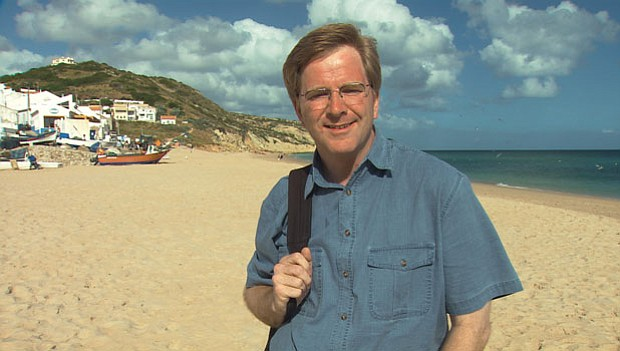 Rick Steves on the beach in Salema, Portugal.