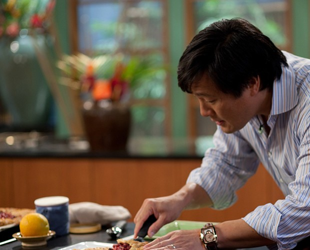 Chef Ming Tsai cooking in his kitchen.