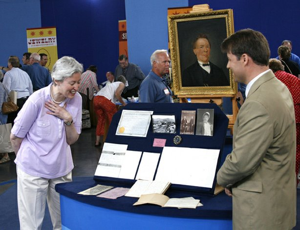 "This woman's reaction is no act when appraiser Thomas Lecky of Christie's reveals the value of her family's collection at ""Antiques Roadshow"" in Salt Lake City, Utah. The meticulously maintained archive features the photos, letters, scripts, playbills and diary of the owner's great-grandfather, Philip Margetts, the first prominent Mormon actor and the most famous thespian in the Utah territory from the 1850s to 1905. Rich and detailed, the collection's connection to the Church of Latter-day Saints boosts its significance, and Lecky declares its market value at $100,000 - $150,000."