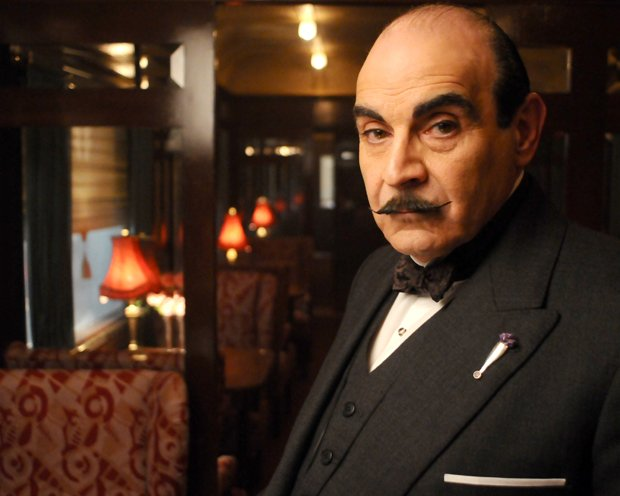Actor David Suchet as the character Hercule Poirot