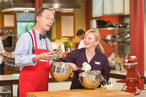 Host Chris Kimball with test kitchen cook Bridget Lancaster. In this episode,...