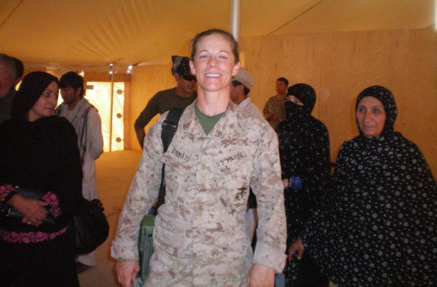 Major Nina D'Amato from Camp Pendleton works with women in Helmand Province, Afghanistan.