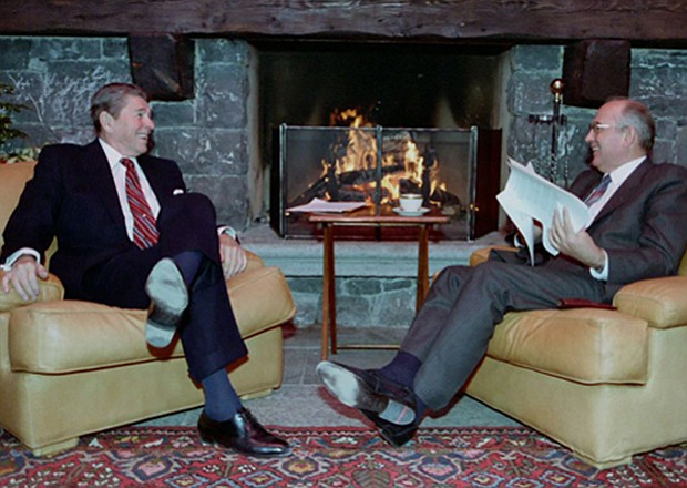 Ronald Reagan and Mikhail Gorbachev meet for the first time in Geneva, 1985.