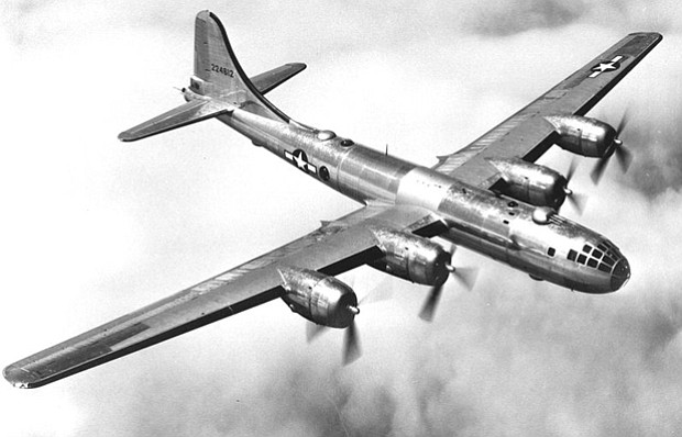 Black and white photo of a B-29 in flight.