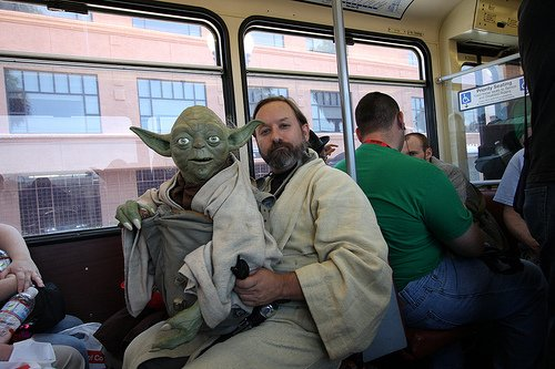 Obi-Wan and Yoda on the San Diego Trolley heading to Comic-Con International.