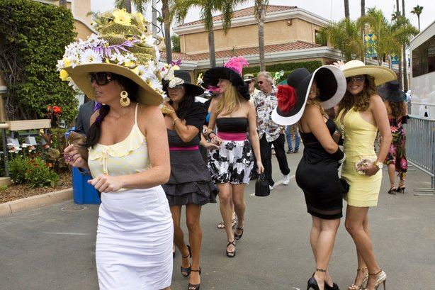 Women in their hats arrive at the Del Mar Thoroughbred Club for opening day o...