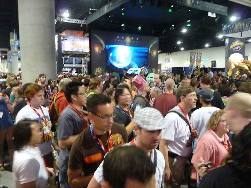 It's only preview night and it's crowded! They were giving away cool Alien fa...