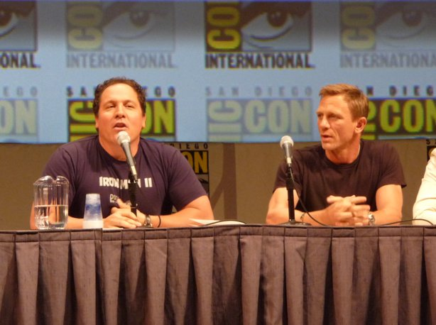 "Jon Favreau and Daniel Craig in Hall H on Saturday night for the ""Cowboys vs. Aliens"" panel."