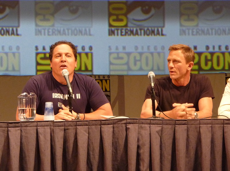 Jon Favreau and Daniel Craig in Hall H on Saturday night for the