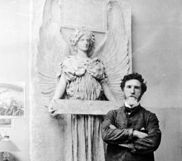 Sculptor Augustus Saint-Gaudens (with Amor Caritas in the background), Paris,...