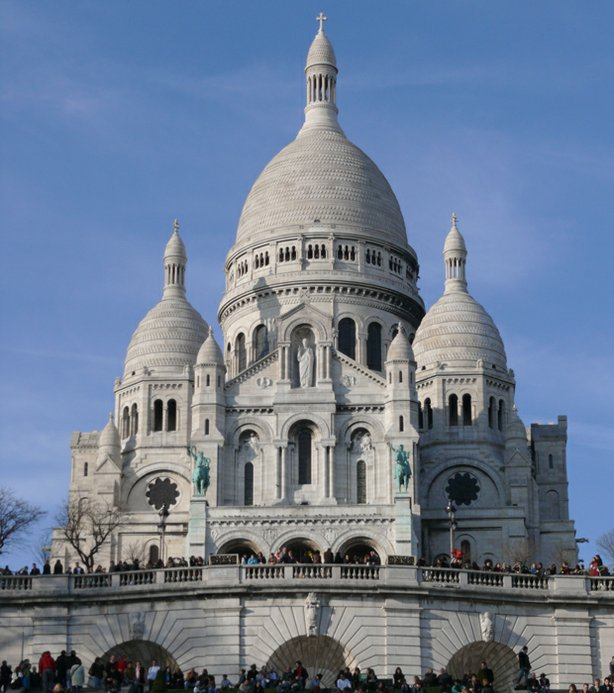 Basilica of Sacre Coeur de Montmartre, taken on a clear day in late February 2008
