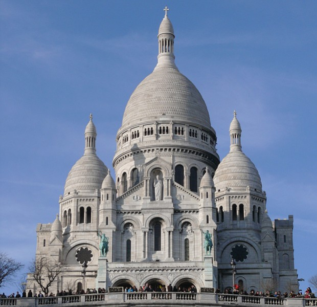 Basilica of Sacre Coeur de Montmartre, taken on a clear day in late February ...
