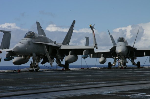 "Jets aboard the ""USS Nimitz."" ""Carrier,"" a 10-part series filmed aboard the ""..."