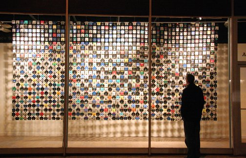"Richard Gleaves' previous exhibit, ""Front Curtain,"" employed hundreds of floppy disks to create a colorful mosaic."