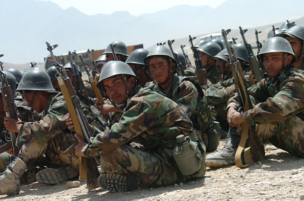 Photo of a group of Afghan officers stationed at Camp Victory in Afghanistan....