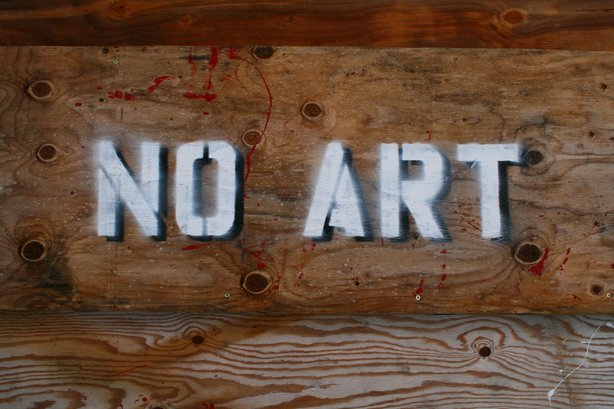 "A ""No Art"" stencil recreated by Saint Marko. He waged his ""No Art"" graffiti c..."