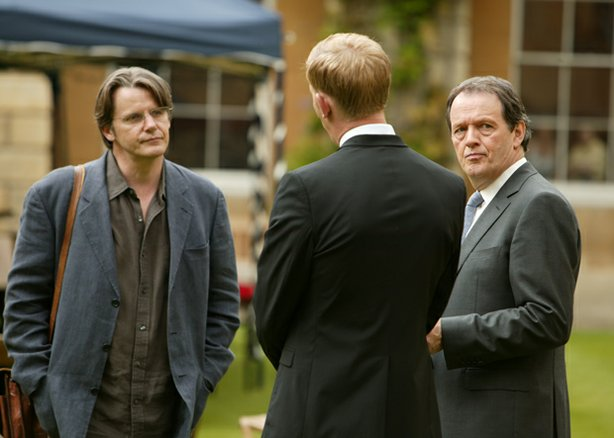 "Malcolm Finniston (Anthony Calf), DS Hathaway (Laurence Fox) and DCS Lewis (Kevin Whately) star in ""Dark Matter."" When the Master of Gresham College, an amateur astronomer, is found dead at the foot of the University Observatory stairs, Lewis and Hathaway find that the finger of suspicion points at the staff."