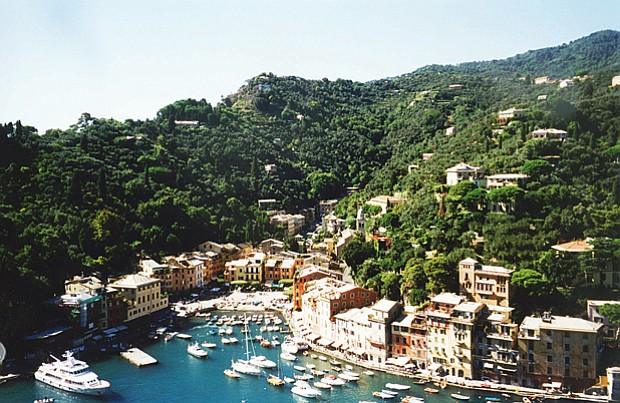 Aerial shot of Portofino, on the Italian Riviera.