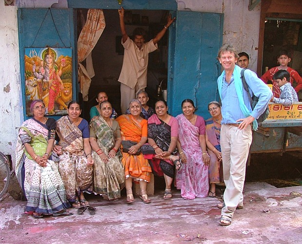 Michael Wood with local women in Mathura after the Holi festival. Sixty years...