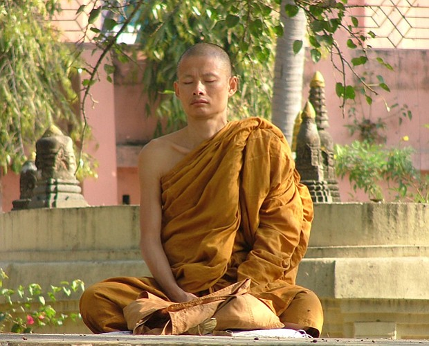 A monk at Bodhgaya. Sixty years after India secured independence, Michael Woo...