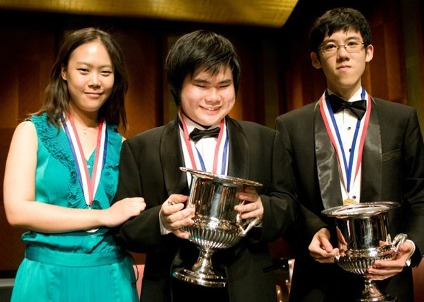 The winners of the Thirteenth Van Cliburn International Piano Competition (from left to right): Yeol Eum Son, 23 (Korea), Silver Medal; Nobuyuki Tsujii, 20 (Japan), Gold Medal (tie); Haochen Zhang, 19 (China), Gold Medal (tie).