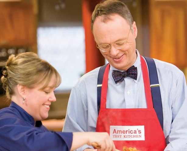 Test kitchen chef Bridget Lancaster shows host Christopher Kimball how to mak...