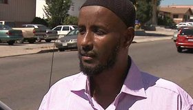 Somali Abdul Qadir Aden  speaks outside a mosque in City Heights this month about his views on the Somali terror group al-Shabab.